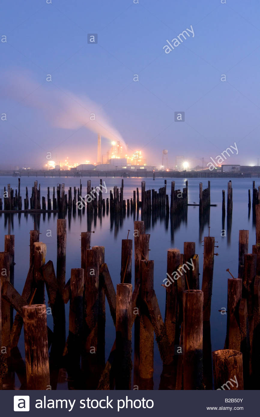 Samoa Pulp Mill and Humboldt Bay Eureka California - Stock Image