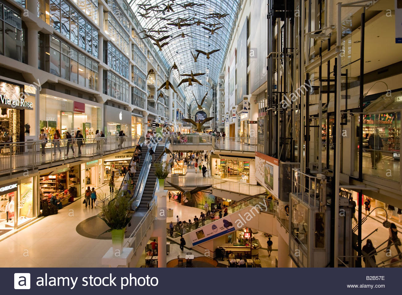 The Eaton Centre an upscale downtown multilevel enclosed shopping mall in Toronto Ontario Canada - Stock Image