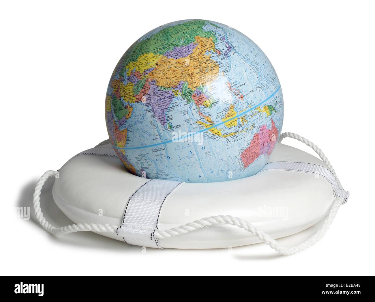 Globe life preserver life jacket world globe - Stock Image