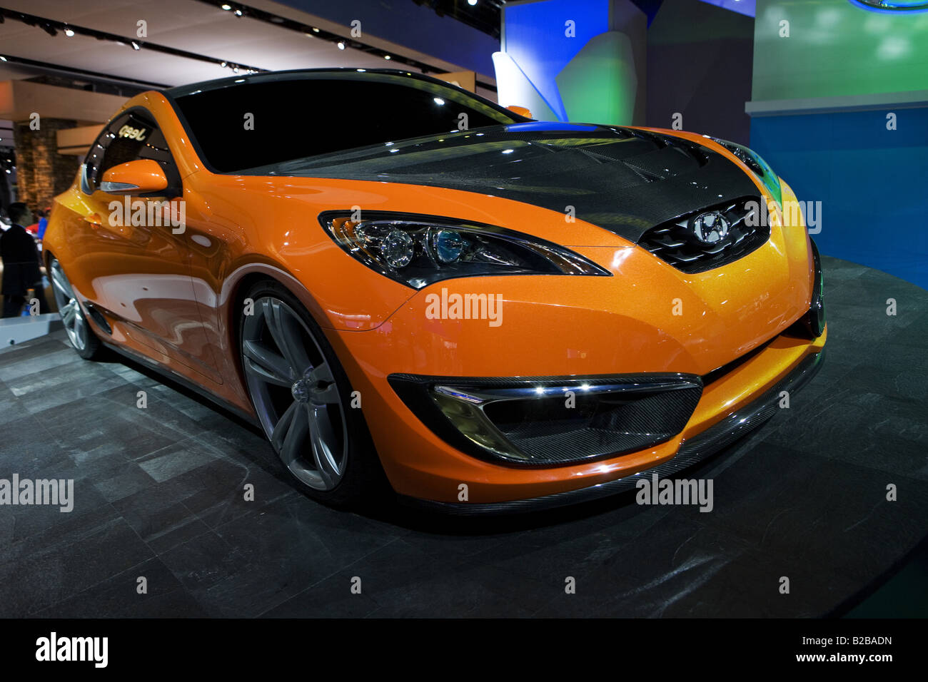 Orange Hyundai Genesis Coupe Concept From 3/4 At 2008 Detroit Auto Show    Stock
