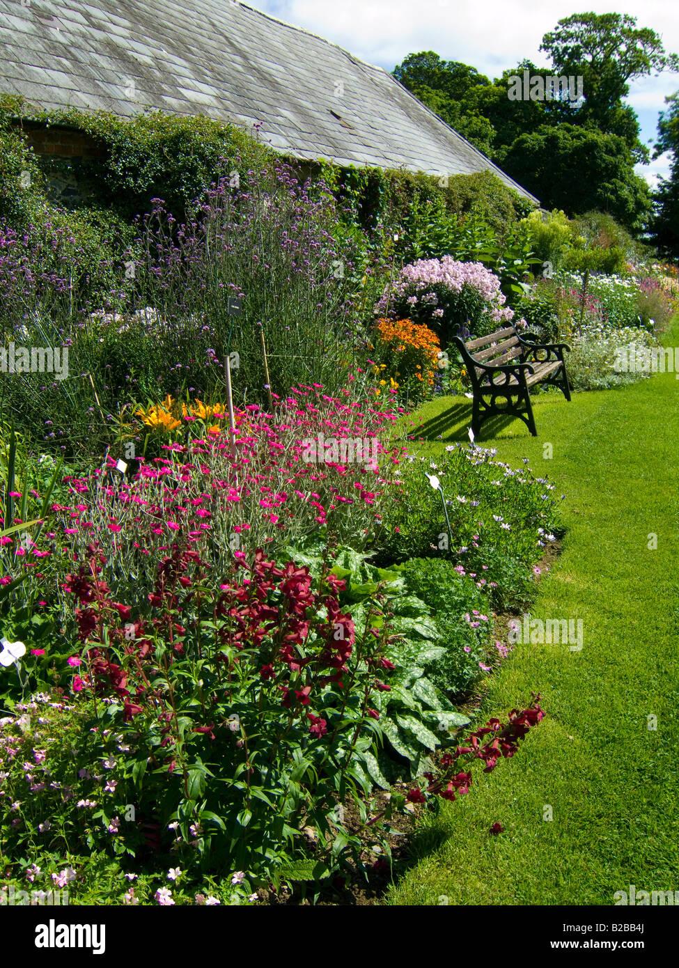 An herbaceous flower border in mid summer - Ardgillan Park near Balbriggan, county Dublin, Ireland - Stock Image