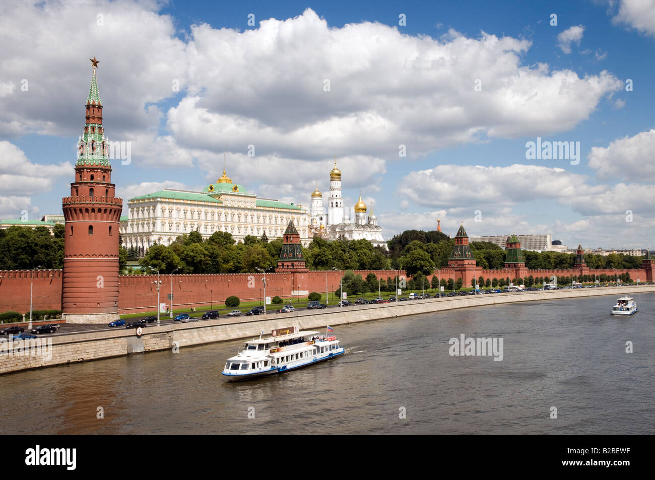 Boat ride on the Moskva river past the Kremlin Moscow Russia - Stock Image