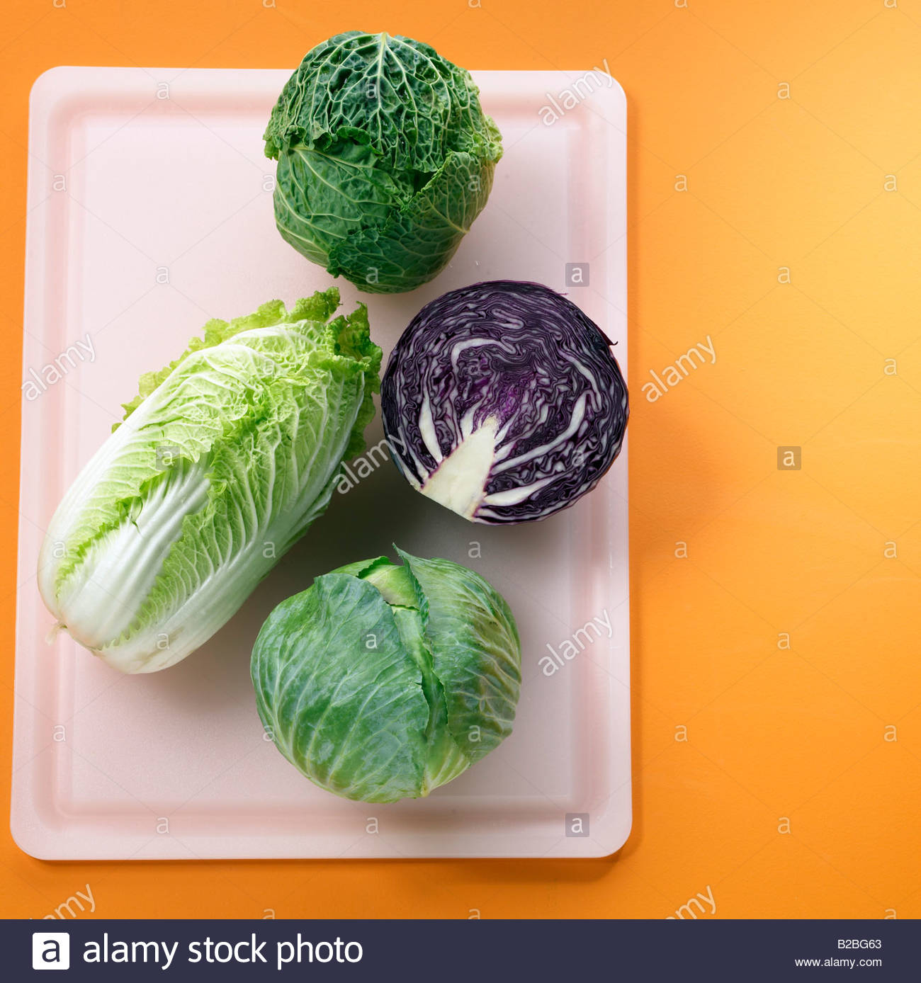 Close up of cabbage varieties - Stock Image