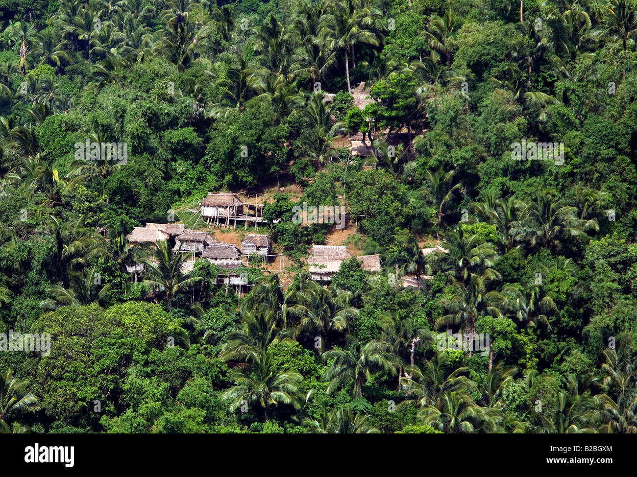 A view of Mangyan huts in the Panaytayan community near Mansalay, Oriental Mindoro, Philippines. - Stock Image