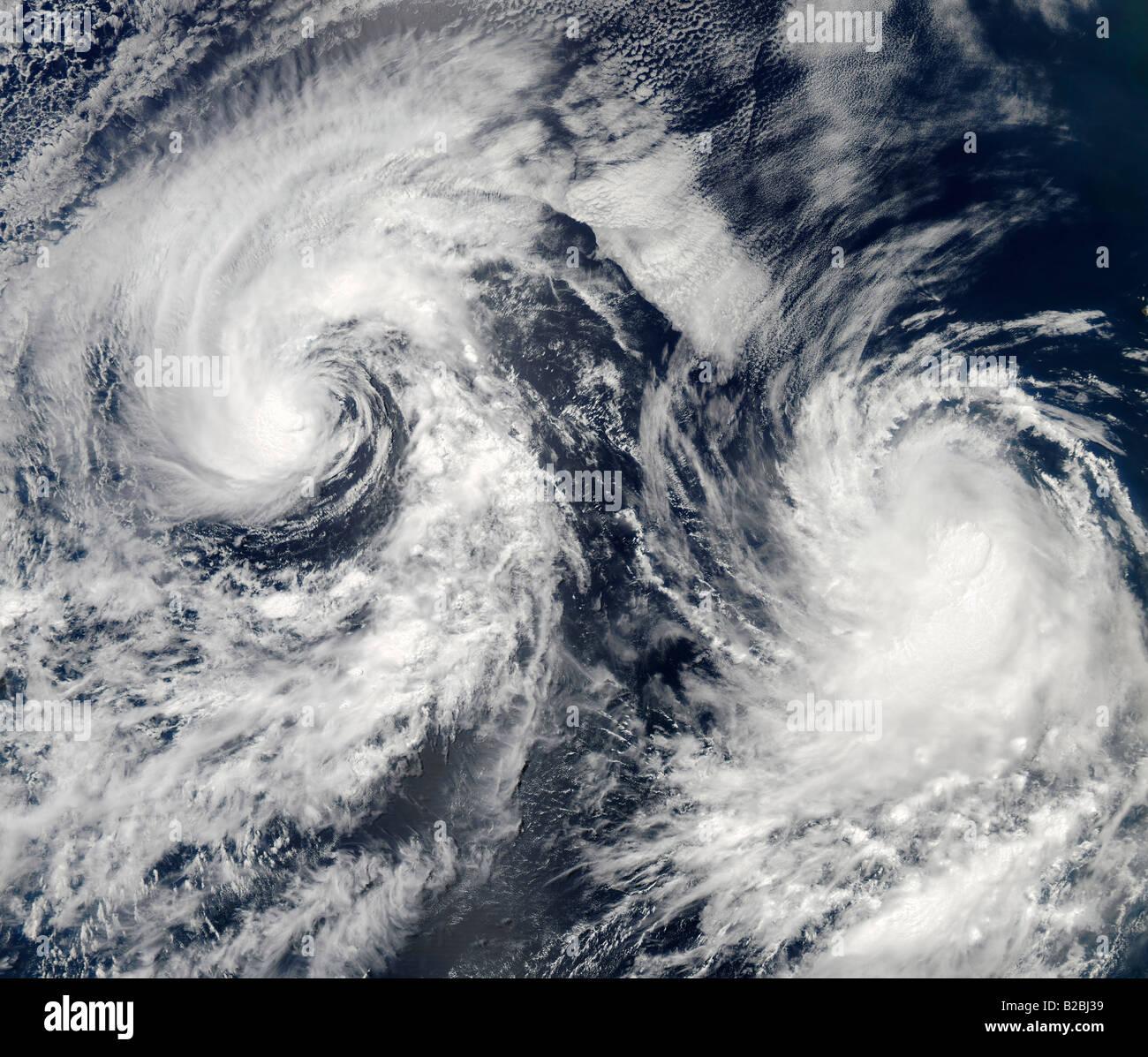 Tropical storms Boris and Cristina in the eastern Pacific Ocean.  June 28, 2008 at 21:30 UTC. - Stock Image