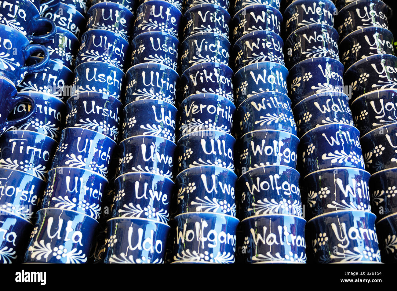 Names written on cups, Auer Dult, traditional market in Munich, Bavaria, Germany, Europe Stock Photo