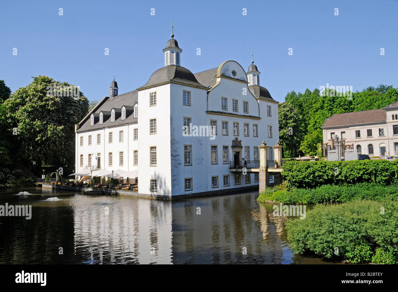 Borbeck Water Castle, cultural centre, museum, Essen, North Rhine-Westphalia, Germany, Europe - Stock Image