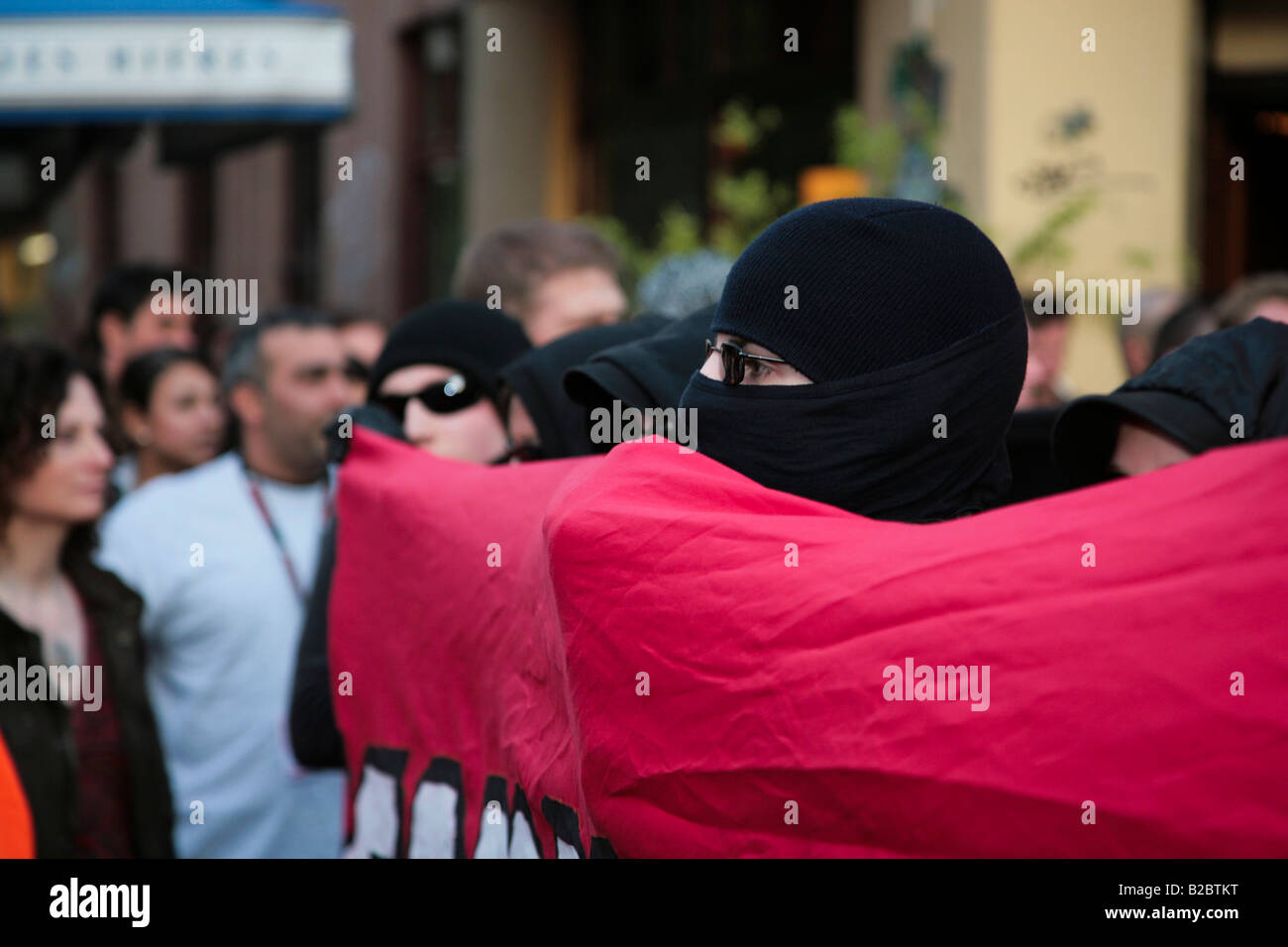 Disguised protestor at the May 1st Protest 2008, Berlin, Germany, Europe - Stock Image