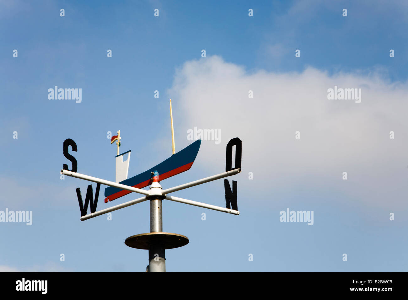 Weather vane with a fishing smack at the fishery association, Flensburg, Schleswig-Holstein, Germany, Europe - Stock Image