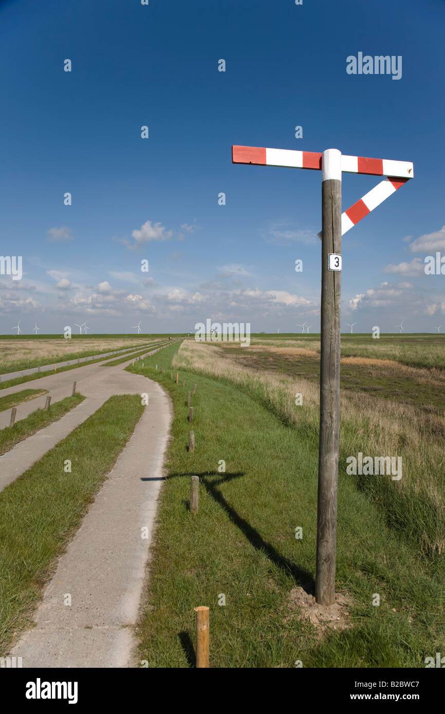 One lane stone path to the Hamburg Holm, the sign indicates a passing place, Hamburg Holm, North Frisia, Schleswig - Stock Image