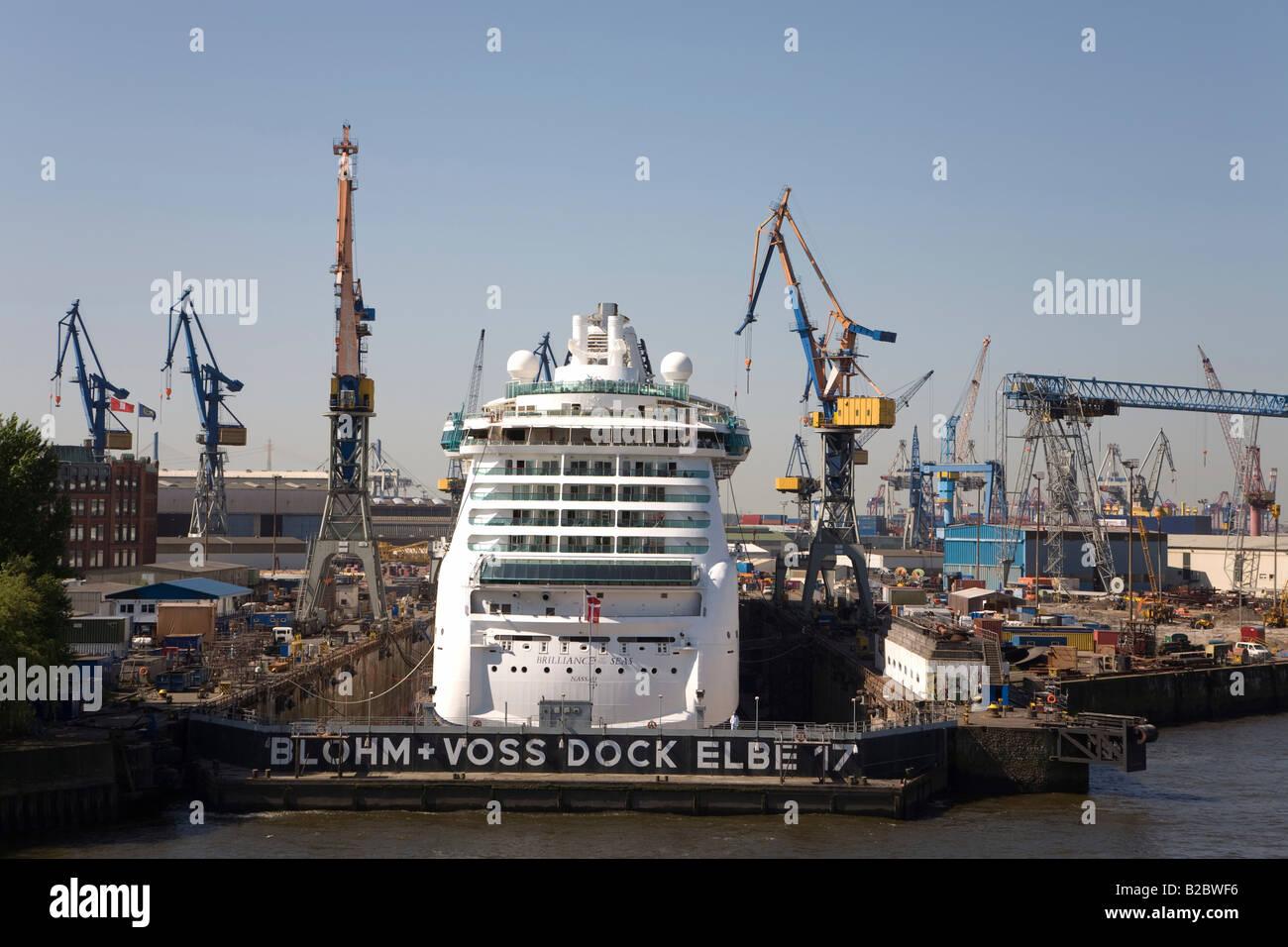 Cruis ship Brilliance of the Sea, Nassau, dry dock, Blohm and Voss Shipyard, ship overhaul, harbour, Hanseatic City - Stock Image