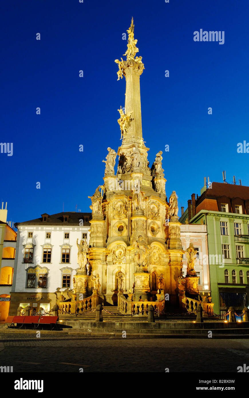 Olomouc city centre with the Holy Trinity Column, a UNESCO World Heritage Site, and Town Hall, Olomouc, North Moravia - Stock Image