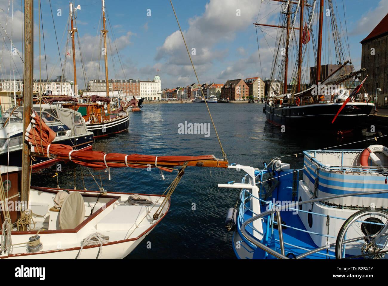Boats in the docks of Groenlanske Handels Plads, Copenhagen, Denmark, Scandinavia, Europe - Stock Image