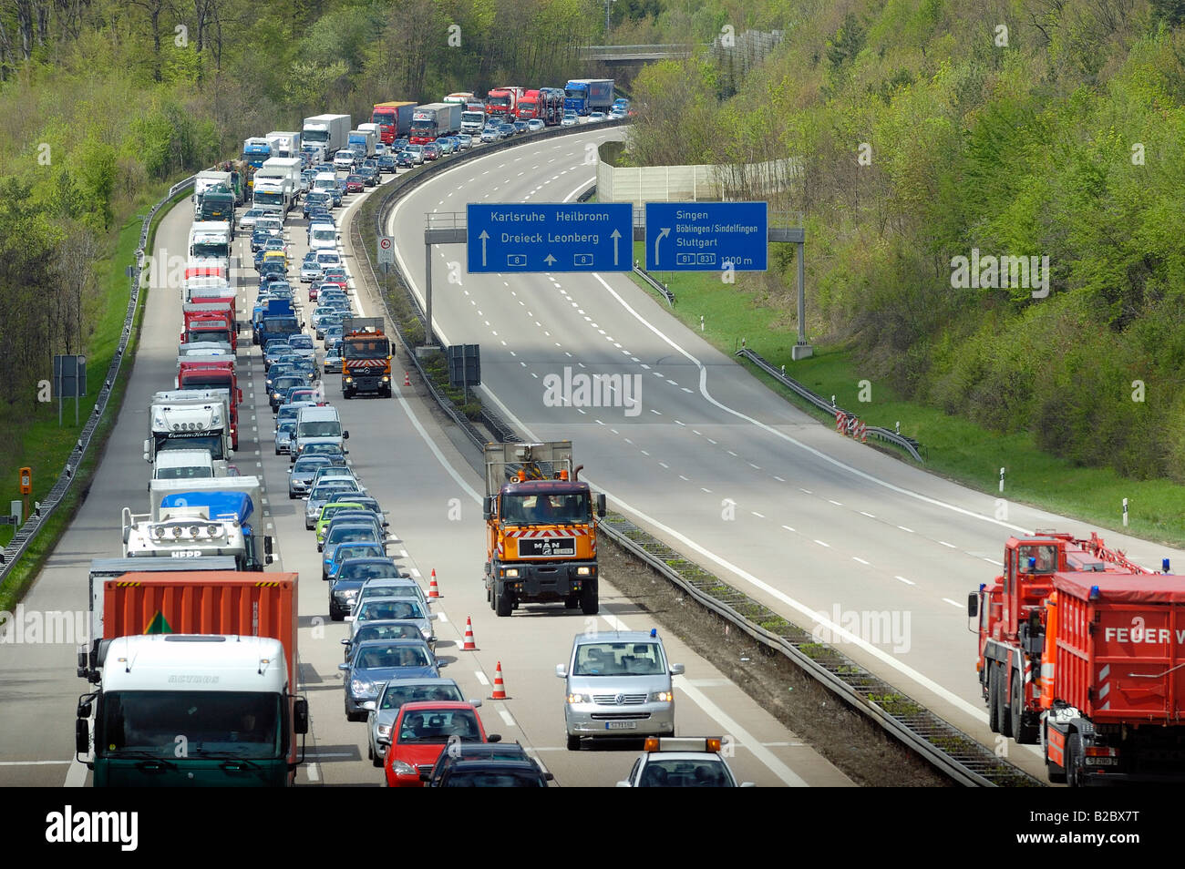 Traffic jam on the opposite carriageway after a major lorry accident on the A8 Motorway, in the direction of the city of Karlsr Stock Photo