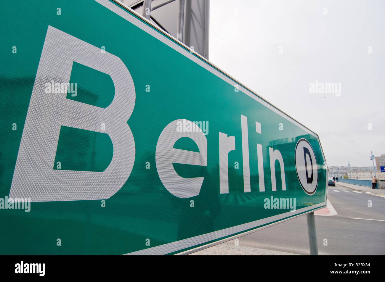 Road sign pointing towards Berlin, Stubice, Poland, Europe - Stock Image