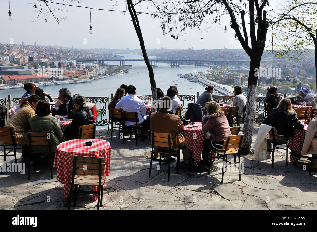 View from Café Pierre Loti towards the historic centre of Istanbul, Istanbul, Turkey - Stock Image