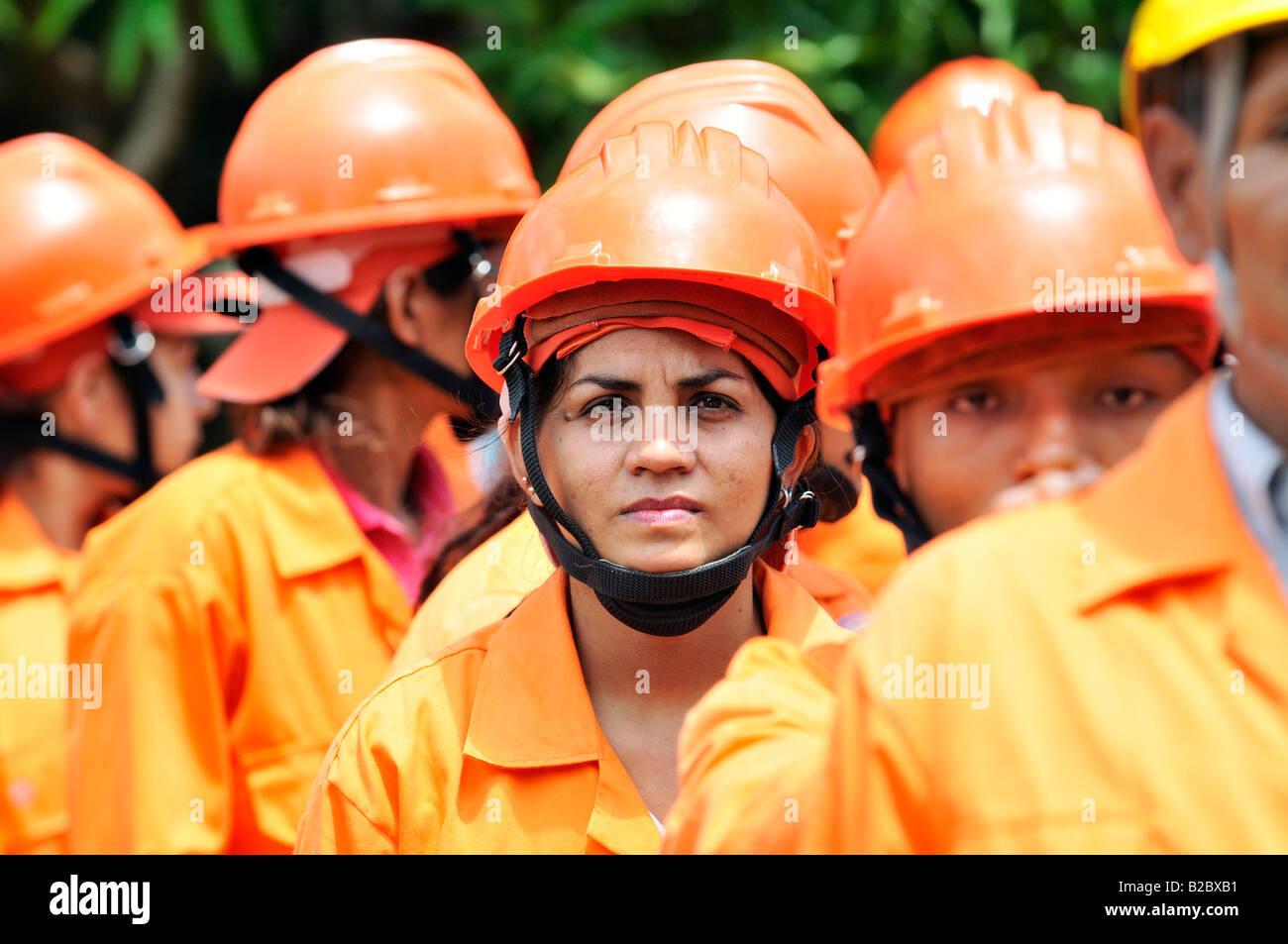 Disaster prevention brigades training, Somotillo, Chinandega, Nicaragua, Central America - Stock Image