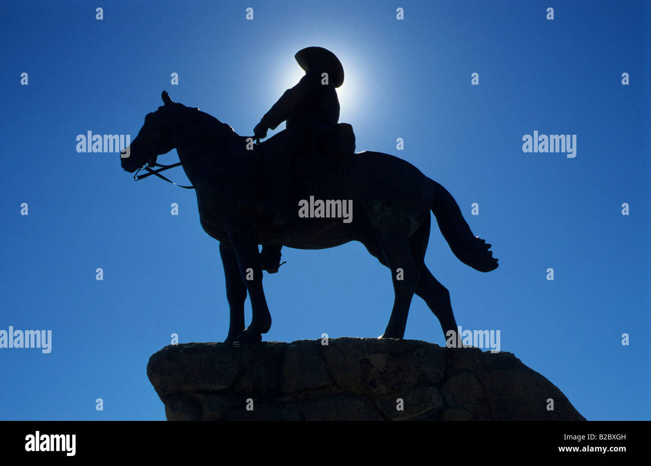 Rider monument from 1912 for soldiers of the German security forces who fell during the Nama and the Herero rebellions - Stock Image