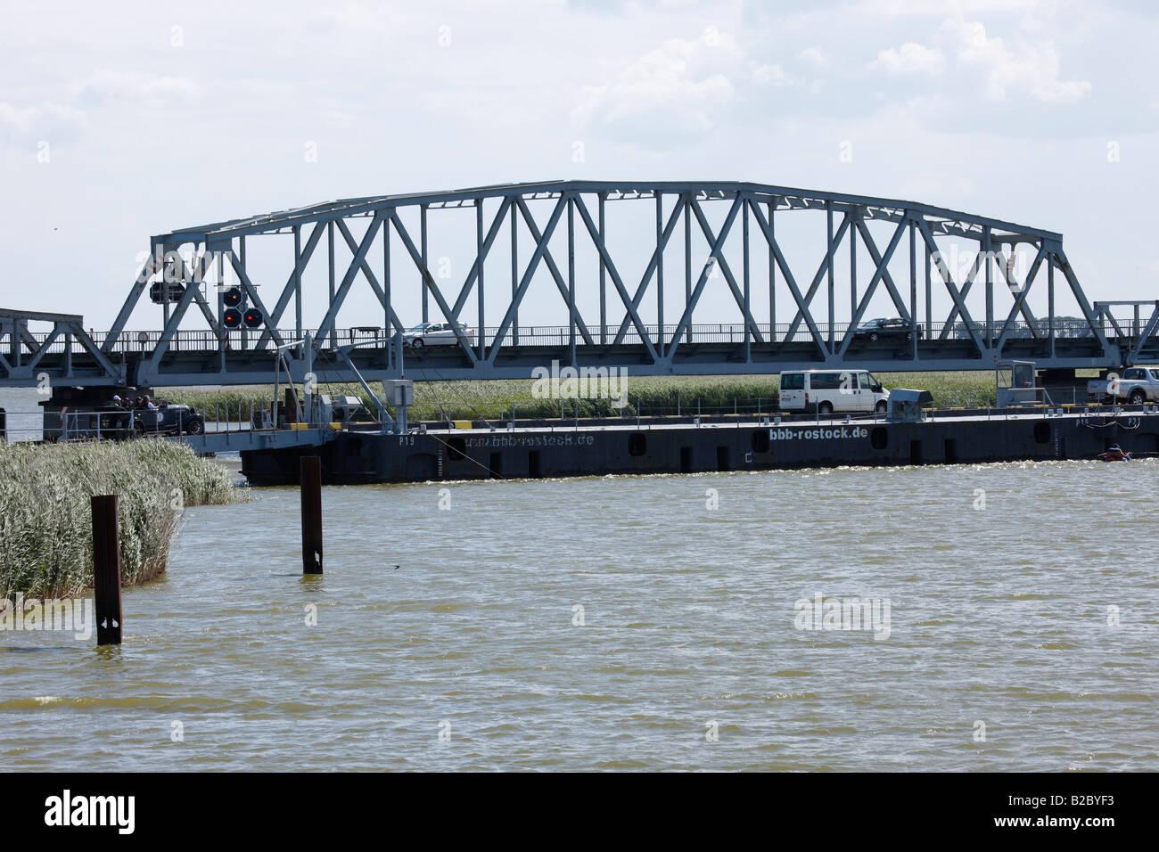 Meiningen Bridge, old railway swingbridge, Bodstedt Bodden, Western Pomerania Lagoon Area National Park, Mecklenburg - Stock Image