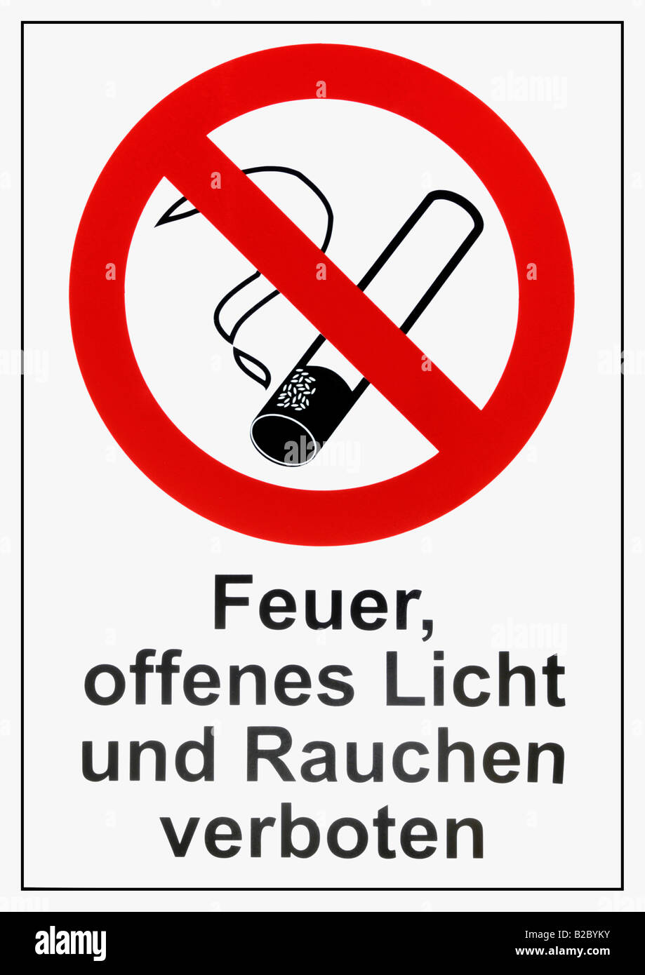 Instruction sign reading Feuer, offenes Licht und Rauchen verboten, fire, lighters and smoking prohibited - Stock Image