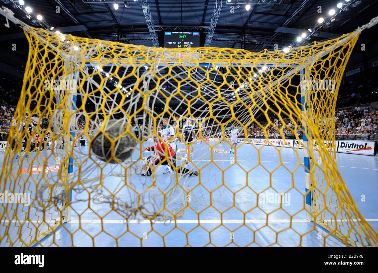 Handball, goalkeeper, Matthias Andersson, THW Kiel, in the Porsche Arena, Stuttgart, Baden-Wuerttemberg, Germany, - Stock Image