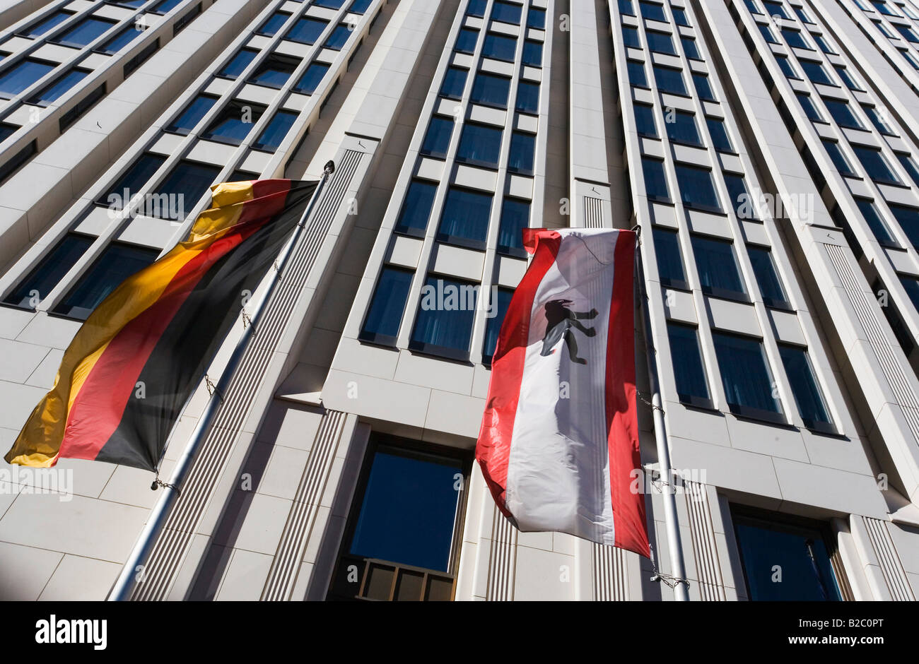 Banners of Germany and Berlin hanging in front of the Beisheim Center on Potsdam Square in Berlin-Mitte, Berlin, - Stock Image