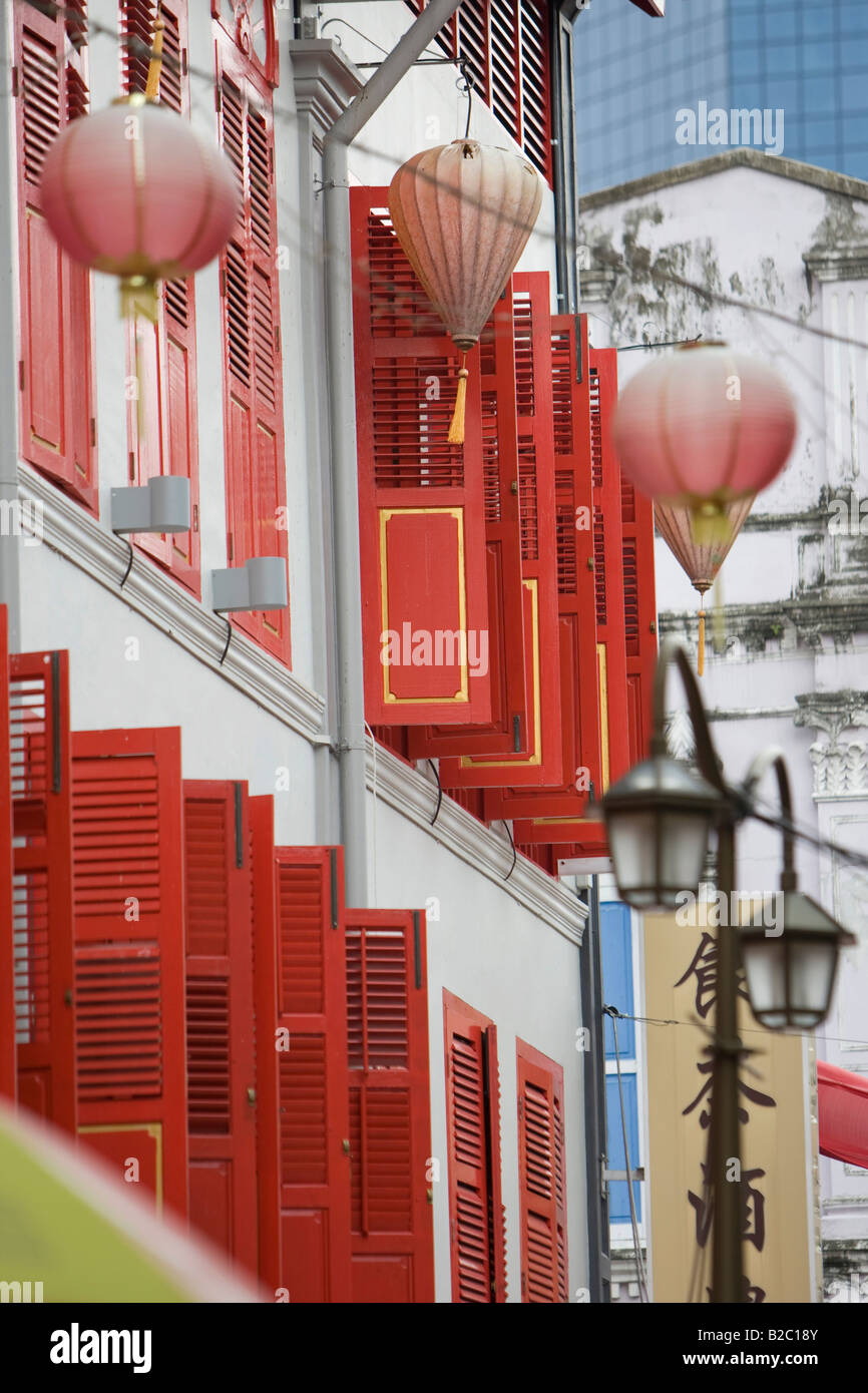 Shop fronts on Neil Road in Chinatown in the Chinese district of Singapore, Southeast Asia - Stock Image