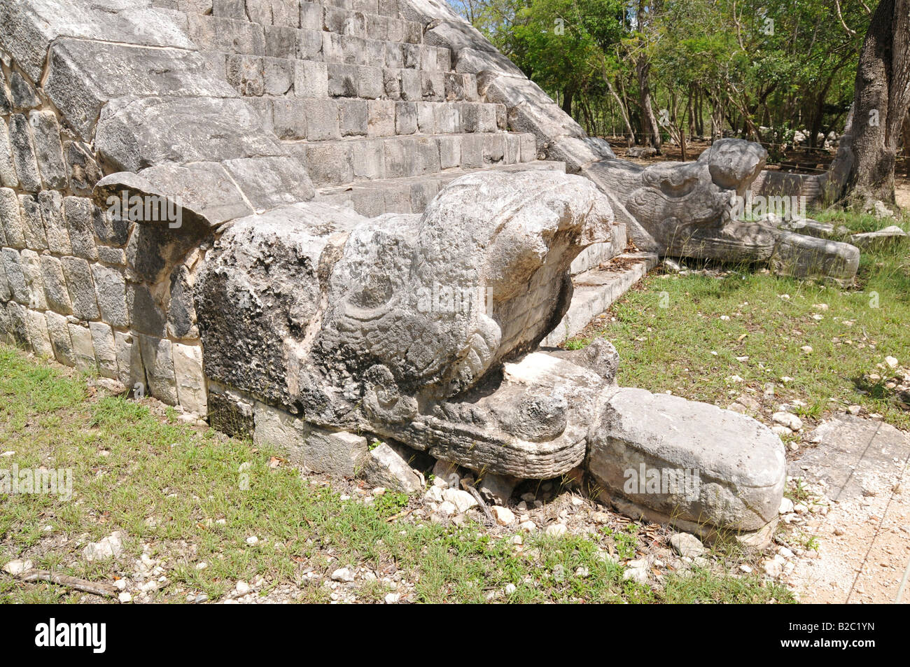 Grave of the High Priest, detail, Zona Central, Chichen-itza, new wonder of the world, Mayan and Toltec archaeological Stock Photo
