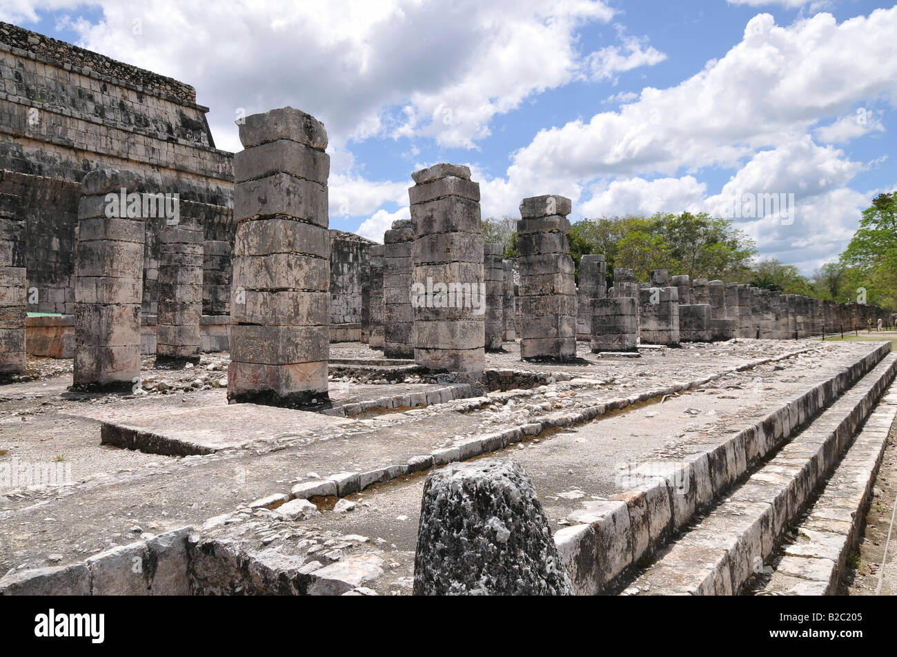 Temple of the Warriors, east colonnade, Zona Nord, Chichen-itza, new wonder of the world, Mayan and Toltec archaeological Stock Photo
