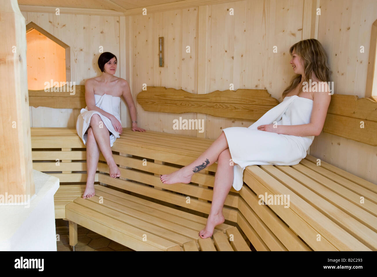 Mature women in sauna