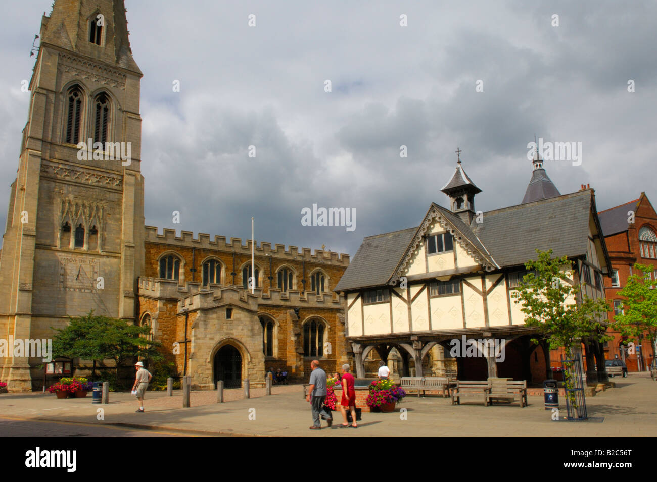 St Dionysius Church and the Old Grammar School in Market Harborough Leicestershire England - Stock Image