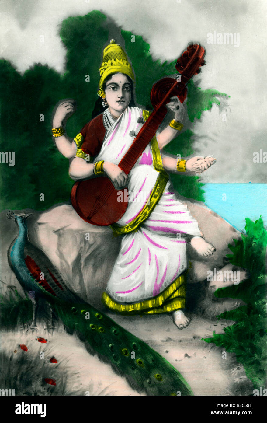 Picture of Saraswati, Indian goddess, historic picture from about 1910 - Stock Image