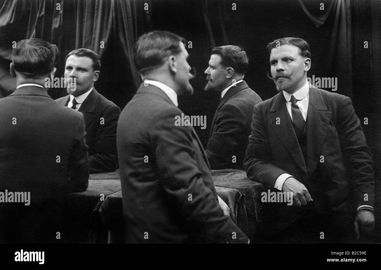 Numerous reflections of a man in a mirror, historic picture from about 1940 Stock Photo