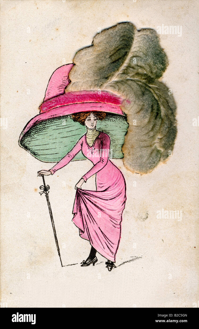 Fashion caricature about hats, historic picture from about 1900 - Stock Image