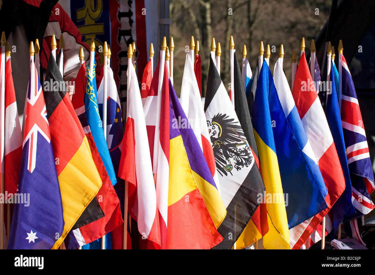 Flags on display at a fan shop, Bobsleigh World Cup, Winterberg, Sauerland, Germany, Europe - Stock Image