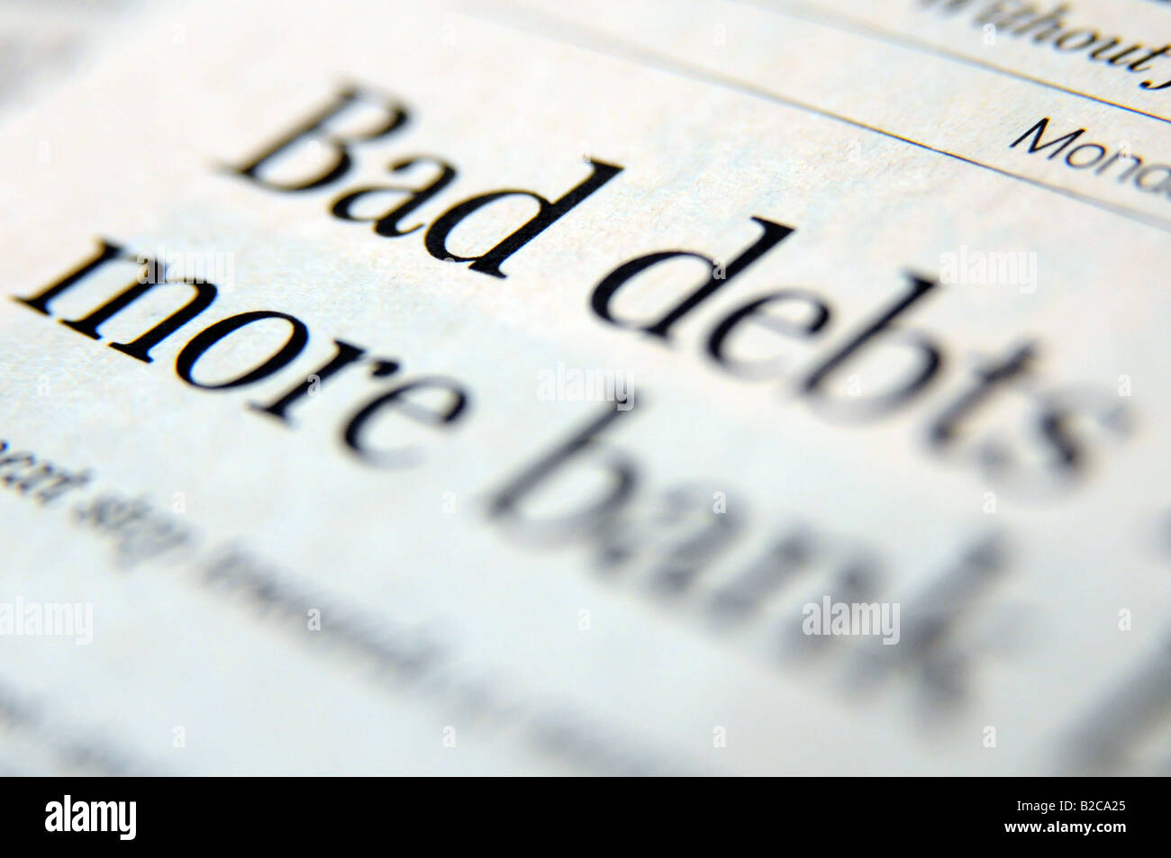 Photograph of newspaper headline about the credit crunch and economic downturn and recession. - Stock Image