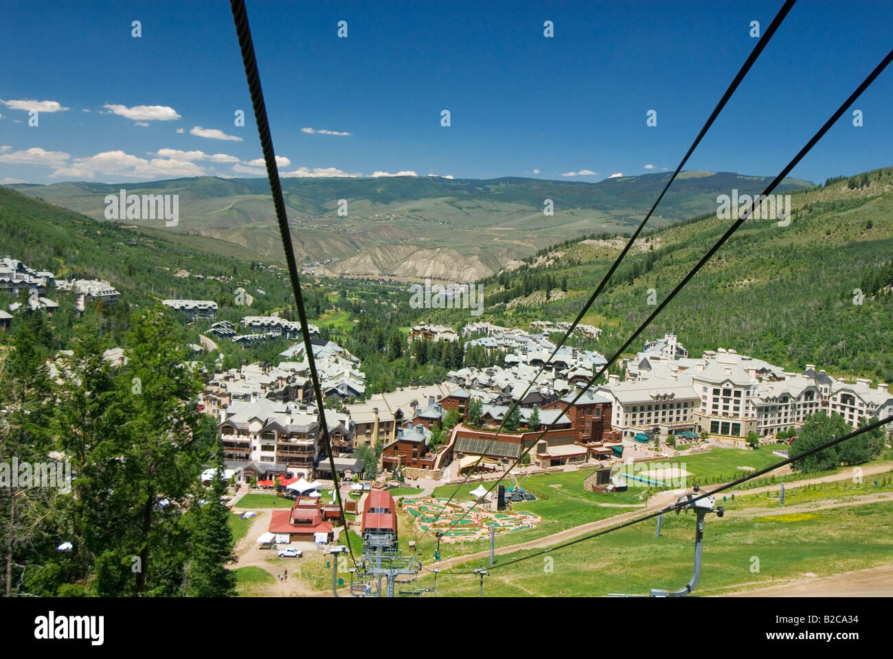Summer chair lift for hikers and mountain bikers over Beaver Creek Colorado - Stock Image