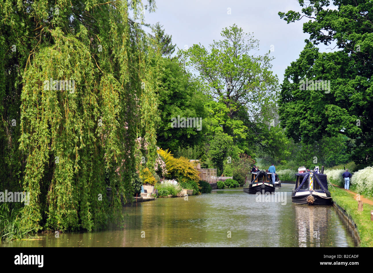 Narrowboats on the Oxford canal at Cropredy, Oxfordshire - Stock Image