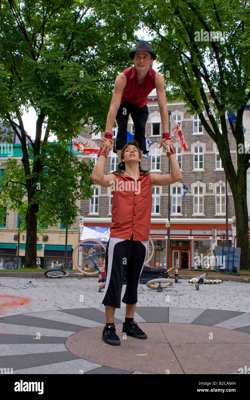 buskers Quebec City Canada - Stock Image