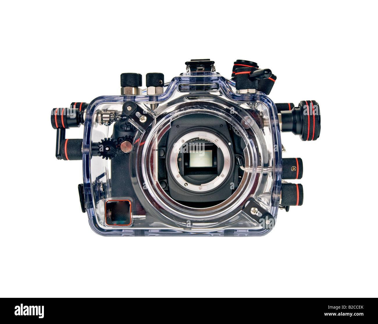 underwater camerahousing housing with Camera reflex single lense reflex SLR digital camera without lense look at - Stock Image
