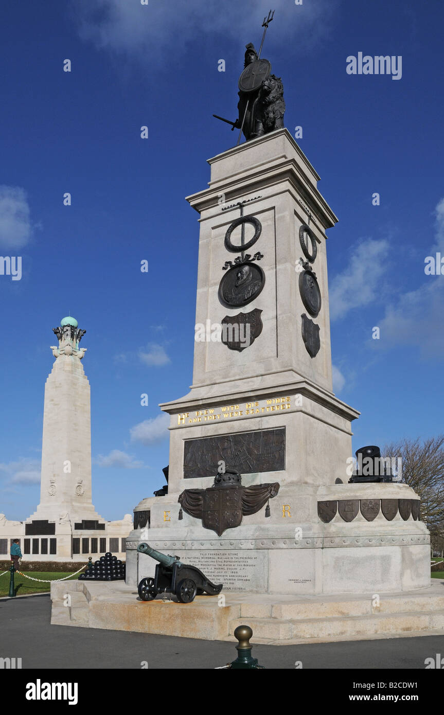 National Memorial for 300th anniversary of sighting of Spanish Armada Plymouth Hoe England with plaque and cannon - Stock Image