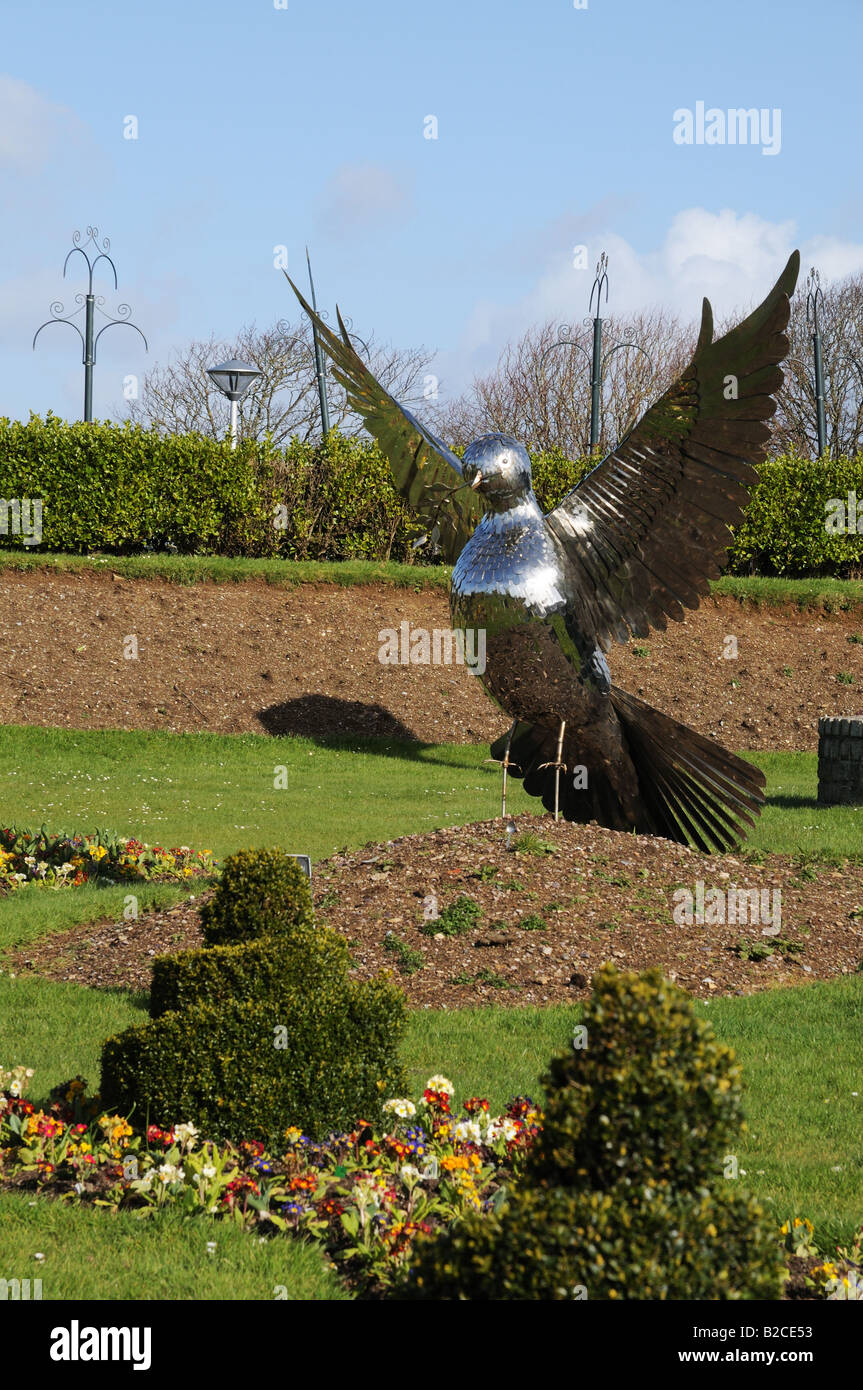 Metal model statue of a dove in Garden of Peace on Plymouth Hoe ...