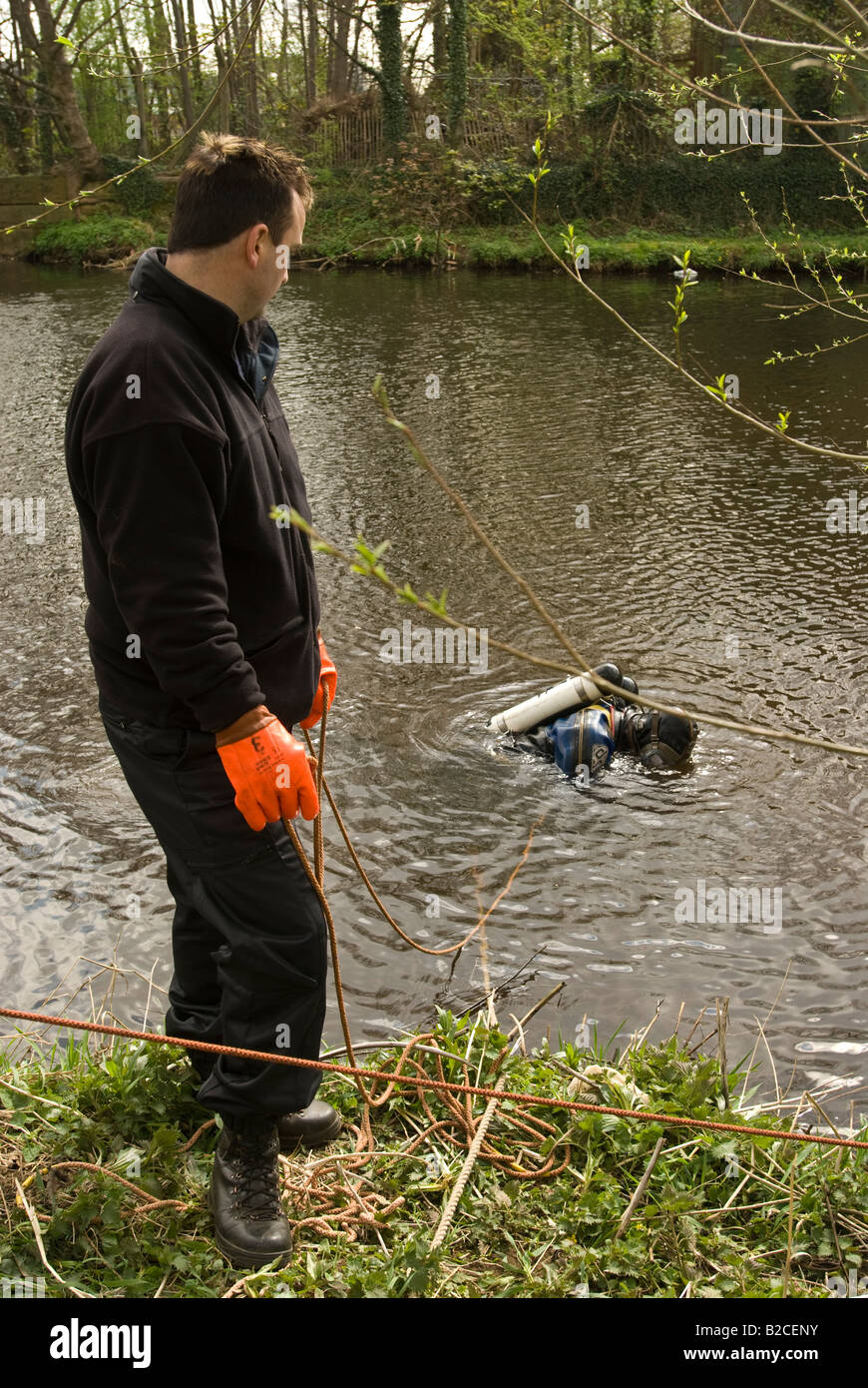 Police diver part of the forces underwater search unit - Stock Image