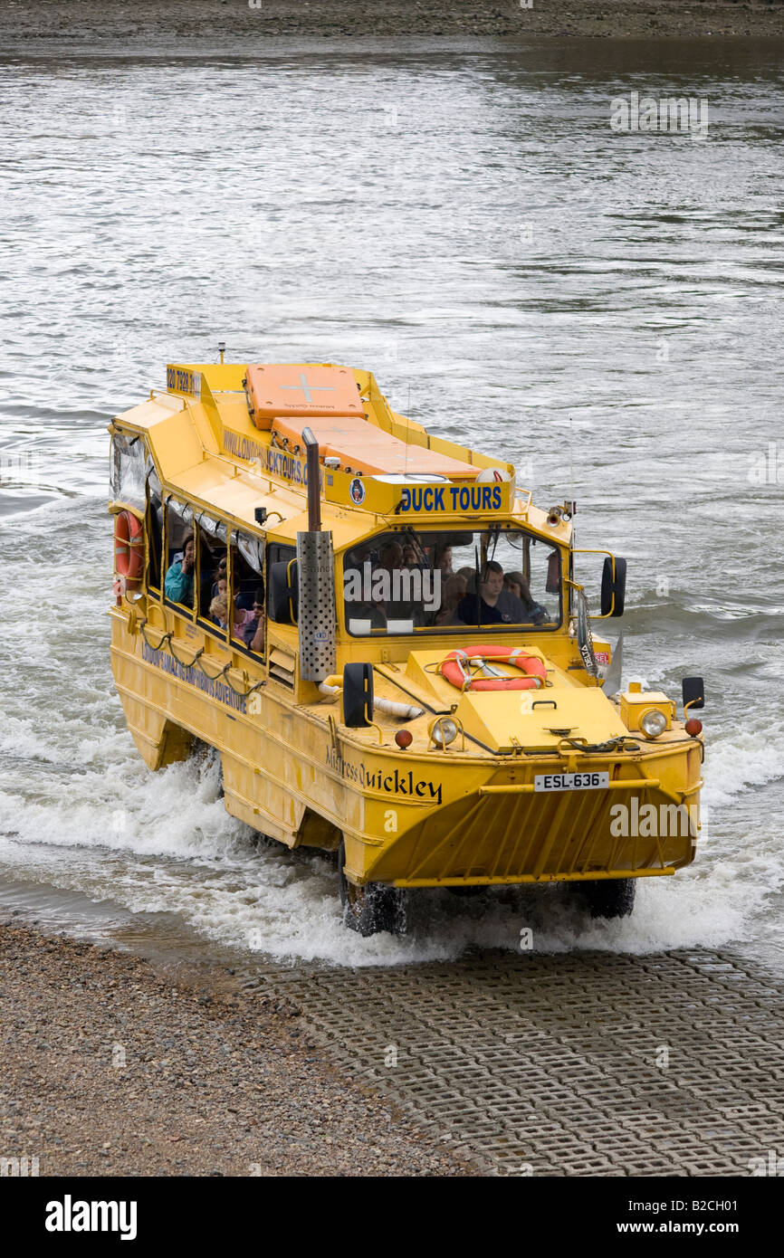 Amphibious craft driving out of the Thames. Vauxhall, London, England - Stock Image