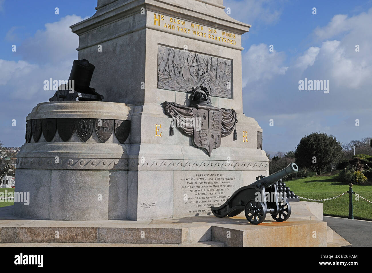 Plaque and cannon at National Memorial for 300th anniversary of sighting of Spanish Armada Plymouth Hoe England - Stock Image