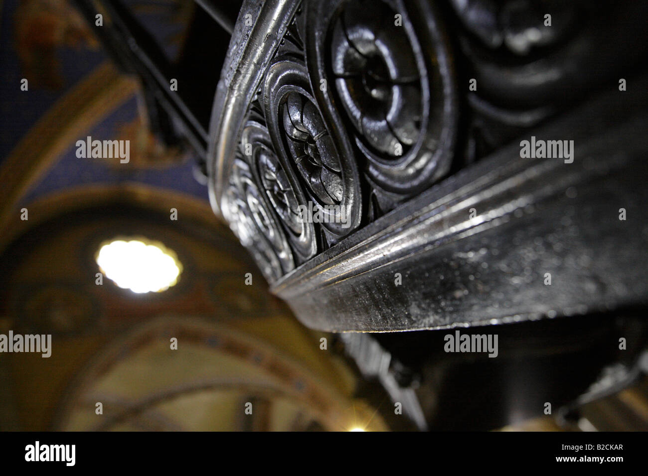 Carved wooden stairway leading to pulpit in Santa Maria sopra Minerva Rome. Stock Photo