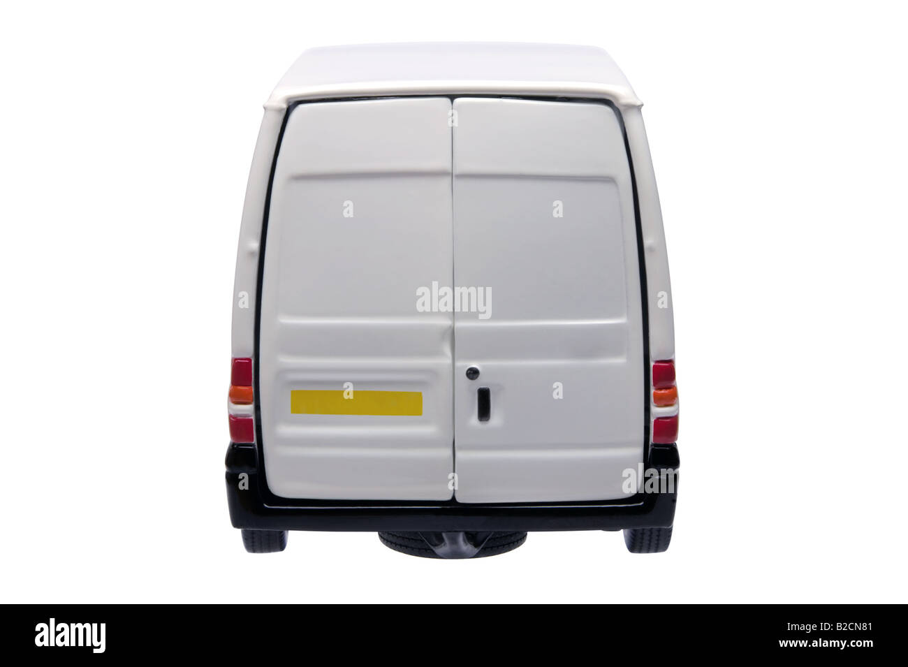 Rear of a model white van with blank door panels for your own branding isolated on white with clipping path - Stock Image
