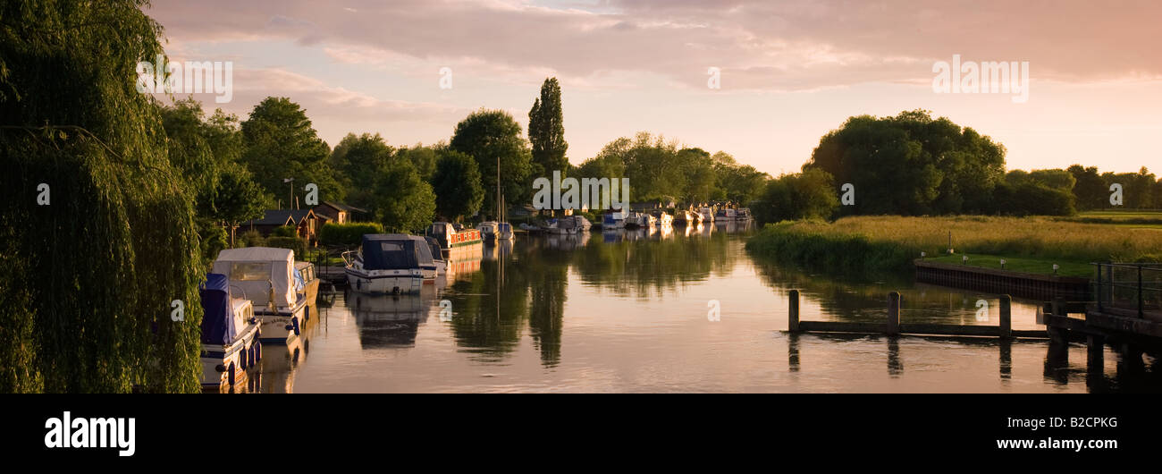 Panoramic view of boats along the River Nene at Peterborough in Cambridgeshire England UK - Stock Image