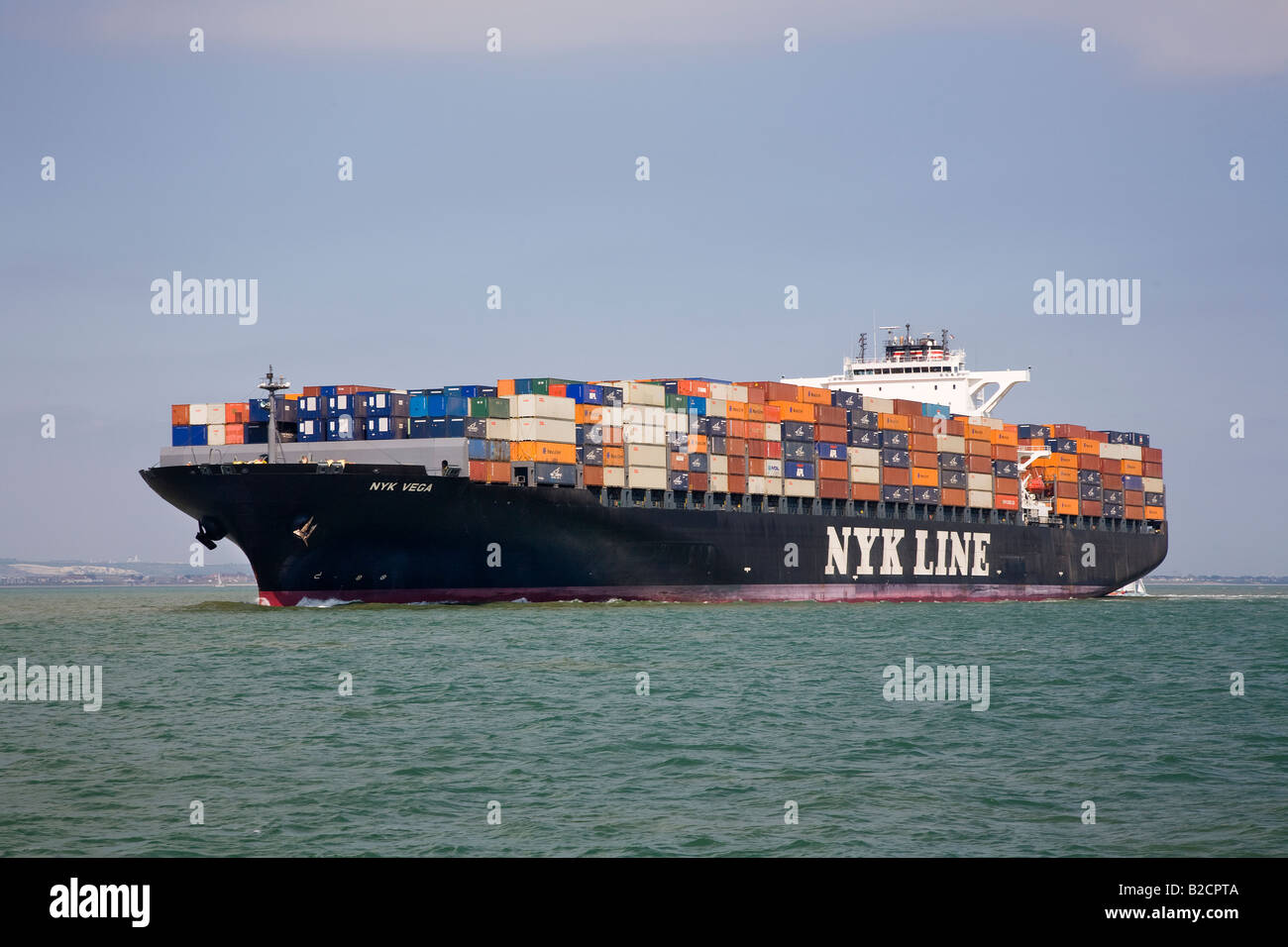 Nyk Vega fully loaded container ship in the Solent bound for Southampton UK - Stock Image