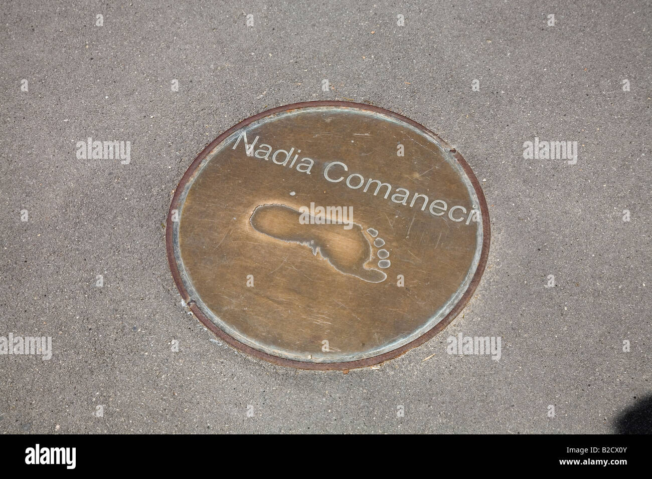 Nadia Comaneci footprints at the Olympic Stadium Barcelona Spain May 2008 - Stock Image